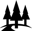 "This is the ""Fun Trips icon which is a road thru pine trees."